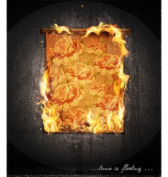 burning antique tapestry vector image