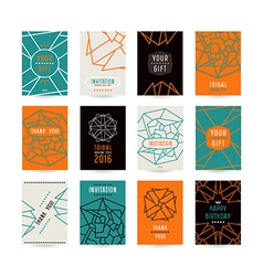 Set of poster templates with geometric drawing vector
