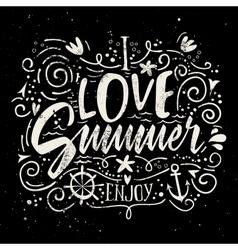 Print for T-shirt I love summer vector image