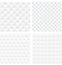 White geometric seamless patterns vector