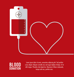 Bag heart blood donation icon graphic vector