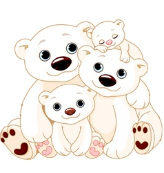 Big polar bear family vector