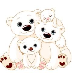 big polar bear family vector image vector image