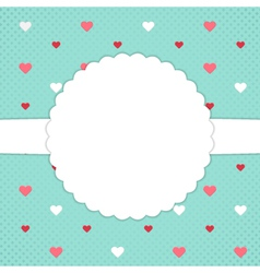 Blue template card with red and white hearts vector
