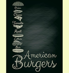 Burger Menu Poster on Chalkboard vector image vector image