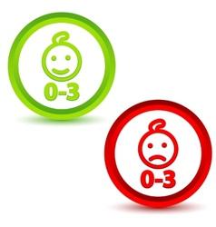 Children under three years icons vector