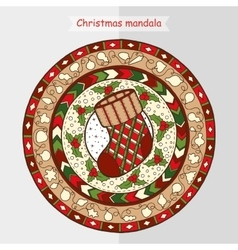 Christmas sock on ethnic mandala vector image