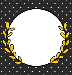 Frame with laurel wreath and white polka dots vector