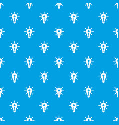 glowing light bulb pattern seamless blue vector image vector image