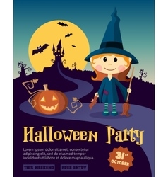 Halloween Party Design template with witch girl vector image