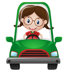 Happy girl driving green car vector