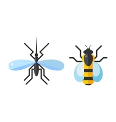 Insect fly and bee icon flat isolated on white vector image