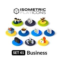 Isometric flat icons set 41 vector