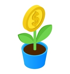 Money tree isometric icon vector