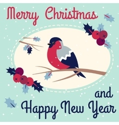 New year and merry christmas bullfinch vector