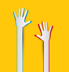 Paper Cut Hands on Yellow - Orange Background vector image vector image