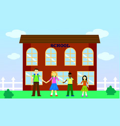 school yard with children from different countries vector image
