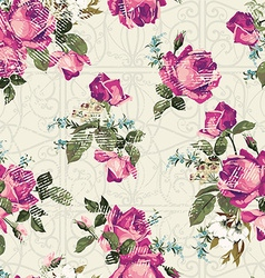 Seamless floral pattern with pink roses with vector image