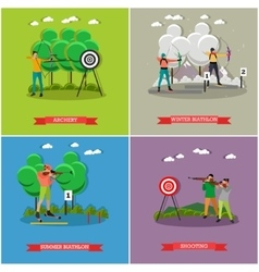 Sport shooting posters biathlon gun shoot vector