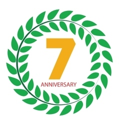 Template Logo 7 Anniversary in Laurel Wreath vector image vector image
