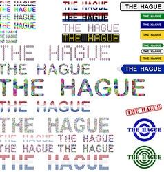 The hague text design set vector