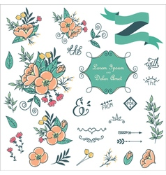 Wedding design elements vector
