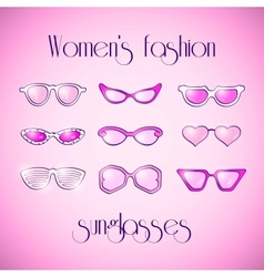Women fashion isolated pink sunglasses set vector