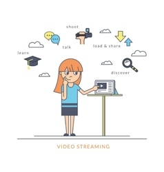 Young redhair girl using a tablet pc and watching vector image vector image