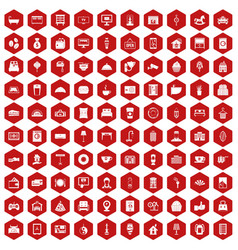 100 hotel icons hexagon red vector
