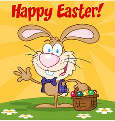 Easter bunny carrying a basket of eggs vector