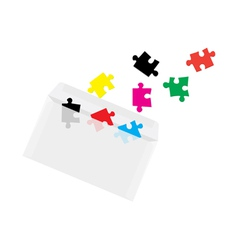 puzzles in envelope concept vector image