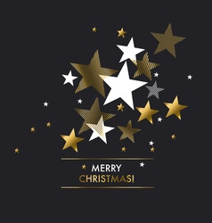 Merry christmas with gold stars greeting vector image
