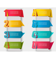 Abstract origami retro banners with litters and vector