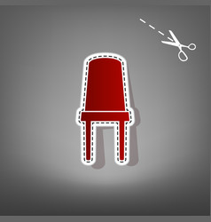 office chair sign  red icon with for vector image