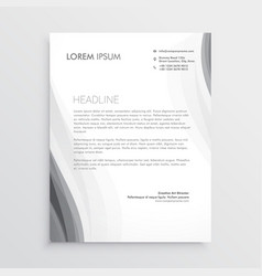 Elegant gray wave letterhead abstract design vector