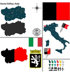 Map of Aosta Valley vector image