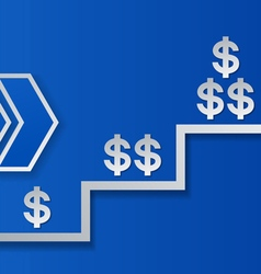 Dollar signs and arrows on blue background success vector