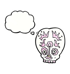 Cartoon sugar skull with thought bubble vector