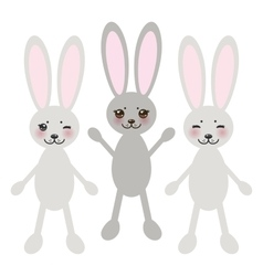 Kawaii funny rabbit on white background with pink vector