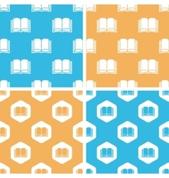 Book pattern set colored vector