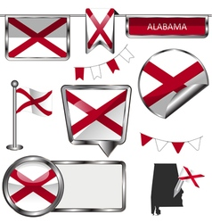 Glossy icons with alabamian flag vector