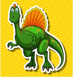 Green dinosaur on yellow background vector