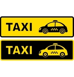 Black and yellow retro taxi sign vector