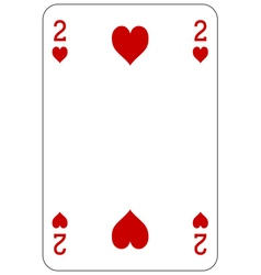 Poker playing card 2 heart vector