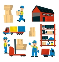 Set of with storehouse workers vector