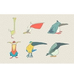 Set of cute cartoon bird isolated on white vector