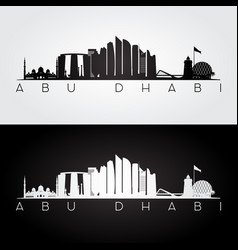 Abu dhabi skyline and landmarks silhouette vector