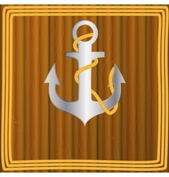Anchor stencil on wooden background vector image vector image