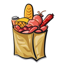 bag with sausages vector image vector image