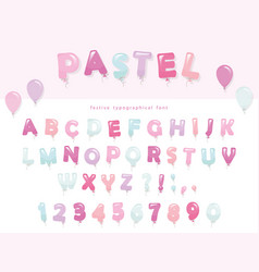 Balloon font design in pastel colors cute abc vector